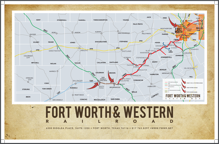 Map Of Texas Fort Worth.Fort Worth Western Railroad Fwwr